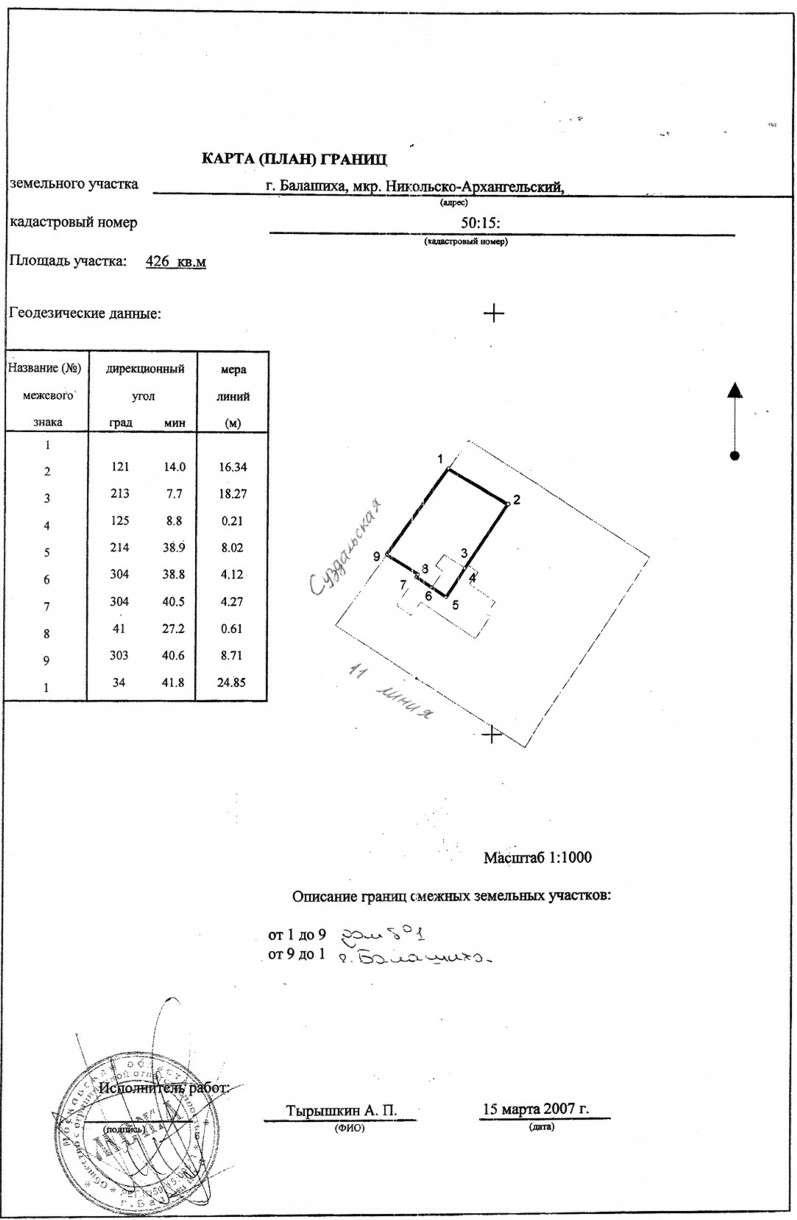 Схема участка с координатами