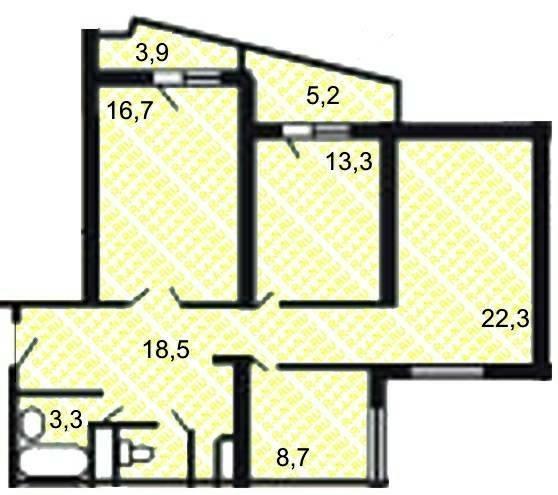 Планировка трехкомнатной квартиры с двумя лоджиями в угловой.