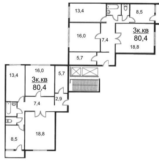 Расположение трехкомнатных квартир в угловой секции. дом сер.